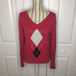 Tommy Hilfiger red pullover argyle print sweater